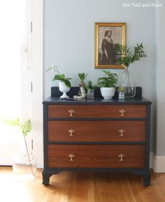 Wrought Iron and Wood Grain - Dresser Makeover by Saw Nail and Paint