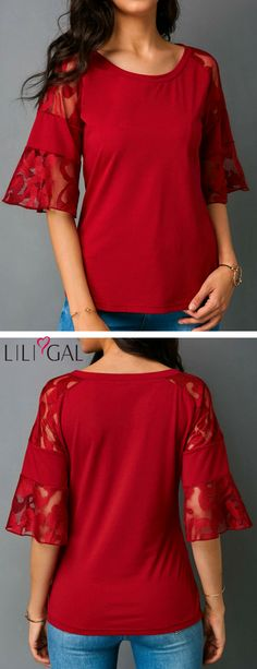 Red Lace Flare Sleeve Round Neck Blouse #liligal #blouse #shirts #top #womenswear #womensfashion