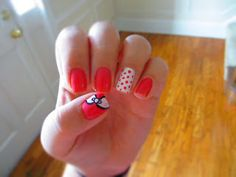 pink and white nails are design polka dots bow bows