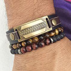 Mens bracelets pulseiras masculinas stones fashion moda masculina leather