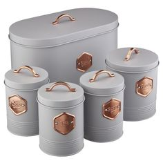 Cooks Professional Kitchen Storage Canister Set 5 Piece Tin Containers for Tea, Coffee, Sugar, Biscuits & Bread with Copper Detailing (Grey/Copper) Storage Canisters, Kitchen Canisters, Kitchen Items, Kitchen Storage, Kitchen Tools, Loft Kitchen, Kitchen Gadgets, Copper And Grey Kitchen, Rose Gold Kitchen