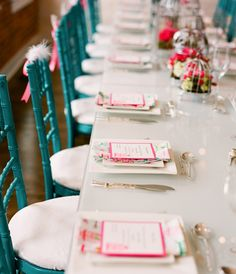 Love the turquoise chiavari chairs!  Beautiful table setting using the theme colors.