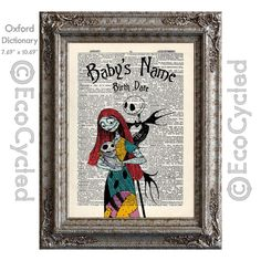 Nightmare Before Christmas Birth Announcement Baby Celebration Jack Sally Custom on Vintage Upcycled Dictionary Art Print Book Art Print by EcoCycled on Etsy https://www.etsy.com/listing/463074348/nightmare-before-christmas-birth