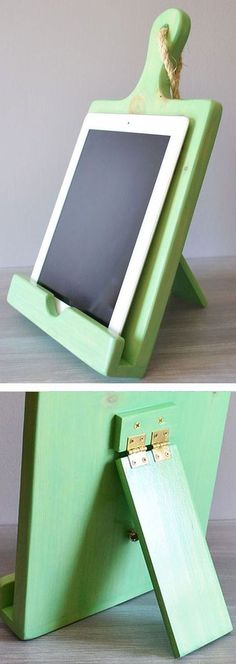 Wood Cutting Board Cookbook & Tablet Stand ♥️ #kitchen #recipes Hinged stand