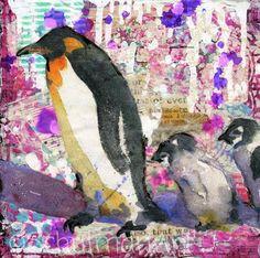 penguin pictures   penguin art   mixed media art by Miriam Schulman @schulmanArt http://schulmanart.blogspot.com/2015/05/spring-in-antarctica.html