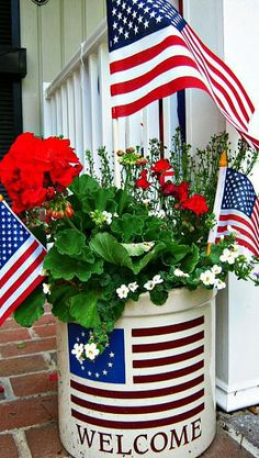 Beautiful red, white and blue flower pot.