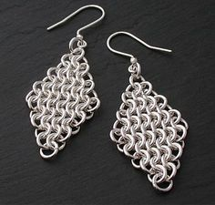Chainmaille Earrings  Stirling Silver by iMightBeCreative on Etsy, $49.00