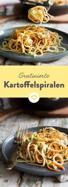Kartoffeln, Möhren und Kohlrabi haben sich schick gemacht. Als hübsche Spiralen kringeln sie sich in cremiger Sahnesauce und unter einer würzigen Käsedecke.