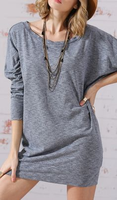 SheIn knows my style. Love this grey marl slate round neck jumpers casual dress.