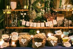 COOKIE BAR  This charming cookie buffet was styled similarly to an ice cream sundae bar — guests spread Nutella, chocolate frosting, or marshmallow fluff onto their cookies, then added fun toppings like M, Reese's Peanut Butter Cups, Twix, Oreos, and more.