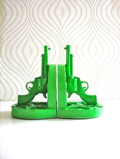 Set of 2 Gun Bookends in apple green by mahzerandvee on Etsy, $29.00