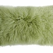 """In stock and ready to ship. 11"""" x 22"""" Mongolian Tibetan Lamb Pillows - Leaf"""