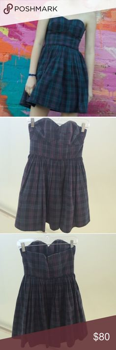 Blue Plaid Jack Wills Dress Super cute blue plaid Keysham dress from Jack Wills. Worn once (seen in first photo!), in perfect condition. I haven't seen anyone else selling this colour and it's not available online anymore! Jack Wills Dresses Strapless