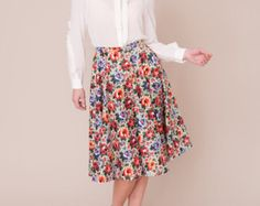 Liberty print dress with piped edged collar by PLUMANDPIGEON