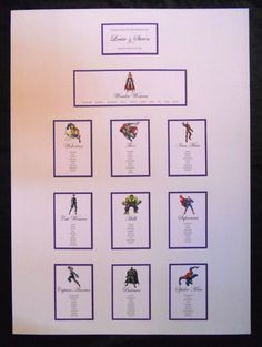 SUPERHERO WEDDING MARVEL TABLE PLAN IN A1 SIZE ANY COLOURS SEATING PLAN