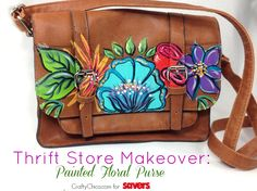 Thrift Store Makeover - painted purse by Crafty Chica and @saversvvillage #diy #paintedpurse #paint