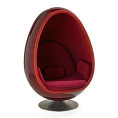 Henrik Thor-Larsen; Gel-Coated Fiberglass and Aluminum 'Ovalia' Chair, 1968.