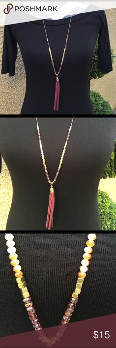 Long Tassel Necklace Brand New Without Tags - Beautiful Necklace in shades of wine, cream and gold Jewelry Necklaces
