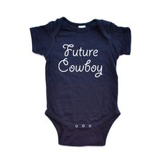 "Purchase Adorable Baby Boy Country Western ""Future Cowboy"" Cute Soft Cotton Infant Creeper from Apericots on OpenSky. Western Babies, Country Babies, Western Baby Clothes, Cute Baby Clothes, Babies Clothes, Babies Stuff, Cute Babies, Baby Kids, Cowboy Baby"