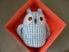 Light Blue Knitted Owl