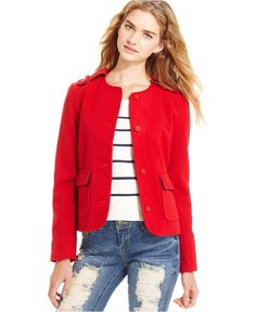 Tommy Girl Juniors Jacket, Collarless Military - Juniors Jackets & Blazers - Macy's