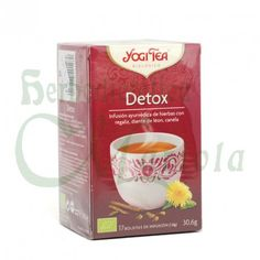 Yogi Tea, Infusión Ayurvédica Ecológica Detox, es una mezcla equilibrada de regaliz dulce y jengibre picante con dientes de león y raíz de bardana. La suma del cardamomo, el cilantro, la salvia y el hinojo completan esta afamada y sabrosa infusión. Cilantro, Salvia, Sparkling Ice, Detox Tea, Natural Health, Bottle, Drinks, Tableware, Food