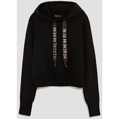 BEJEWELLED DRAWSTRING SWEATSHIRT - View all-KNITWEAR-WOMAN | ZARA... (73 CAD) ❤ liked on Polyvore featuring tops, hoodies, sweatshirts, drawstring top and drawstring sweatshirt