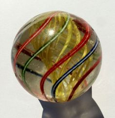 Vintage marble in my Etsy store! 1 and 9/16 German Yellow Latticino Swirl Marble by OrbObsession, $60.00