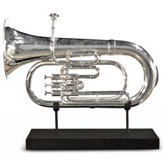 Father's day gift ideas. Hickman Industrial loft Nickel Trumpet On Metal Stand Sculpture   Kathy Kuo Home