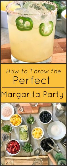 How to throw the perfect {skinny} margarita party! This is an easy and fun mix-your-own margarita party, allowing guests to choose their own flavor combinations! Margarita Party, Perfect Margarita, Margarita Recipes, Cocktail Recipes, Drink Recipes, Margarita Quotes, Peach Margarita, Coconut Margarita, Jalapeno Margarita