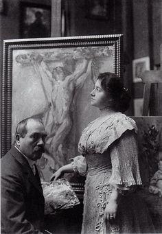 Lovis und Charlotte Corinth im Berliner Atelier 1908.