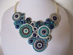 Soutache Beadwork Teal Navy and Grey Pearl Bib by BellaLucaDesigns