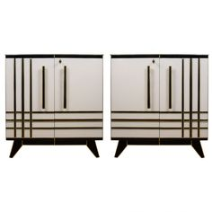 Pair of Buffets in Mirror | From a unique collection of antique and modern buffets at https://www.1stdibs.com/furniture/storage-case-pieces/buffets/