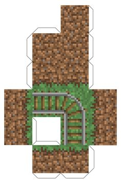 Papercraft Triple Grass Block (with Rails)