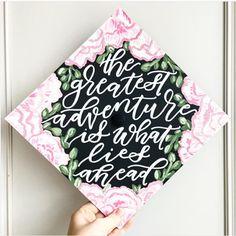 This floral styled graduation cap idea is not only beautiful but, it also allows you to share a meaningful graduation quote on your special day.