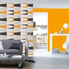 Papier peint g om trique triangles noir et blanc gris papiers peints wall painting floors for Papier peint geometrique triangles noir et blanc gris