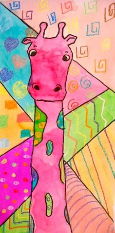 Panther's Palette: 3rd Grade: Patterned Giraffes..another great example of different view of the giraffe for our drawing lesson