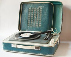 Soviet vintage portable record player - 3 speed rare record player - retro, teal player home decor. $129.00, via Etsy.