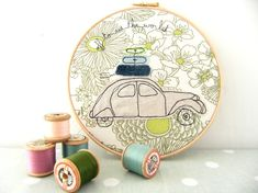 Embroidery Hoop Art  'Off to see the world' by ThreeRedApples