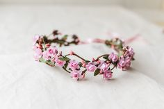 wedding flower crown / dainty pink rose floral hair by kisforkani