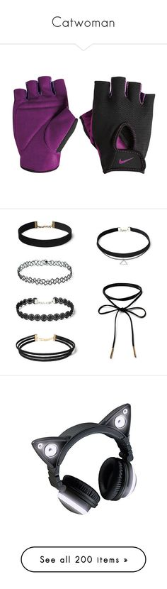 """Catwoman"" by ladykdragon ❤ liked on Polyvore featuring accessories, nike, jewelry, necklaces, chokers, black, choker necklaces, choker jewelry, vintage flower necklace and flower choker"