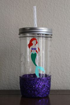 Disney& Little Mermaid, Ariel Glitter-Dipped Mason Jar Tumbler, Sparkle Cup - Mason Jar Cups, Mason Jar Tumbler, Disney Little Mermaids, The Little Mermaid, Disney Dorm, Disney Stuff, Slime, Mermaid Cup, Mermaid Room