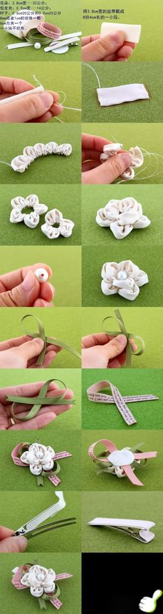DIY Tutorial: ribbon crafts / How to make hair clips for girls - Bead&Cord Ribbon Art, Fabric Ribbon, Ribbon Crafts, Flower Crafts, Ribbon Flower, Diy Ribbon, Paper Crafts, Handmade Flowers, Diy Flowers
