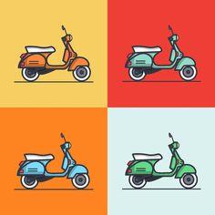 27 Ideas Vintage Bike Illustration Vespa Scooters For 2019 Scooters Vespa, Vespa Ape, Scooter Scooter, Scooter Parts, Illustration Vespa, Flat Design Illustration, Bike Logo, Motorcycle Logo, Vespa Logo