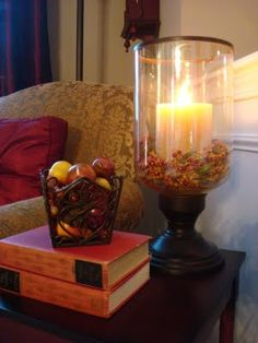 Fall End Table Decor Ideas   Hurricane Vase Filled W/candle And Potpourri.  Stack