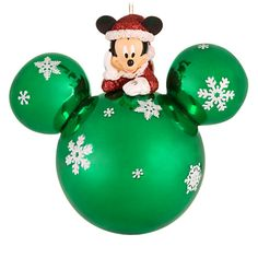 Item Name: Disney Green Glass Santa Mickey Mouse Holiday Ornament / Item Number: / Mickey Mouse Christmas Tree, Disney Christmas Decorations, Peanuts Christmas, Christmas Books, Holiday Tree, Holiday Ornaments, Christmas Crafts, Christmas Stuff, Glass Ornaments