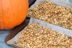 Roasted Pumpkin Seeds  Yield: 5 servings  This is my basic recipe for crisp and delicious roasted pumpkin seeds. They are delicious as i...
