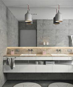 salle de bains intérieur design moderne luminaire suspendu salle de bains comptoir bois