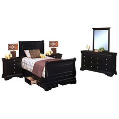 Black Hills Youth Sleigh 5 Piece Storage Twin Bed, 2 Nightstand, Dresser & Mirror in Black The Black Hills collection offers timeless traditional style made more contemporary with a beautiful black cherry finish. The sleigh bed and optional underbed storage presents grown up styling that... more details available at https://furniture.bestselleroutlets.com/children-furniture/bedroom-sets-children-furniture/product-review-for-black-hills-youth-sleigh-5-piece-storage-twin-be
