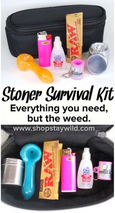 The stoner survival kit from ShopStayWild.com includes everything you need but the weed.  a pipe, grinder and even eye drops. Perfect gift for a stoner! #marijuana #cannabis #stoned #high #cannabiscures #legalize #420 #710 #wax #shatter #glass #vape #st